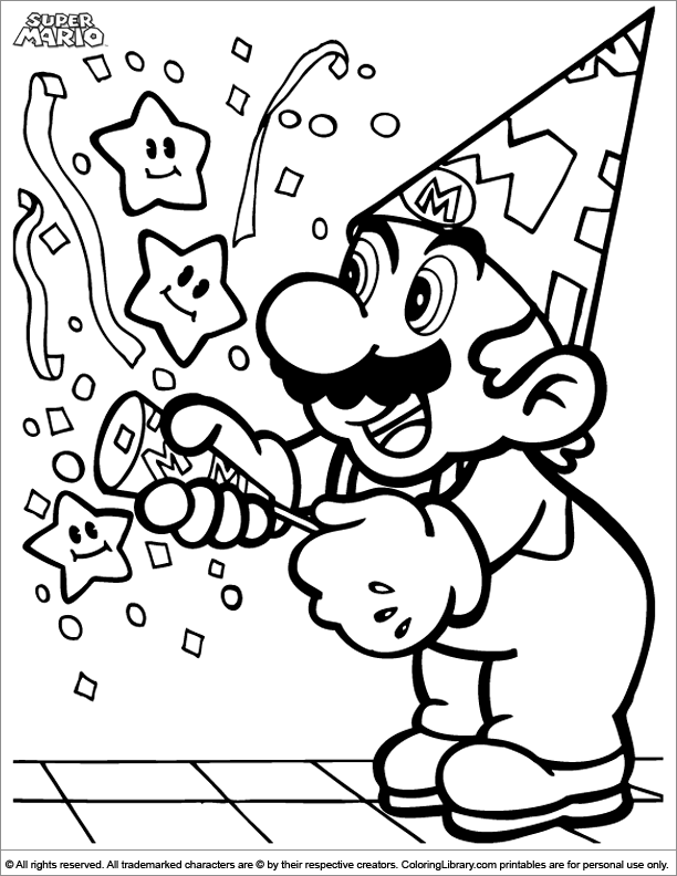 Super Mario Brothers Colouring Sheet Coloring Library