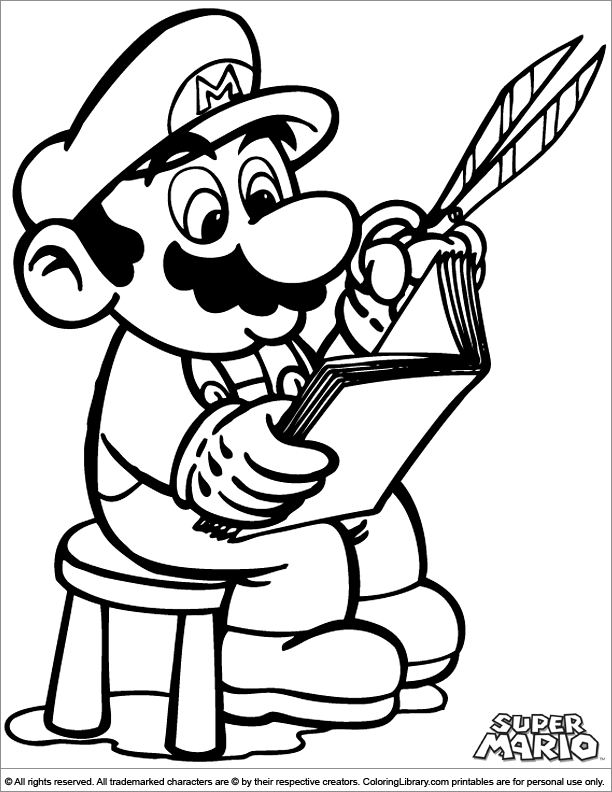 Super Mario Brothers colouring sheet for kids