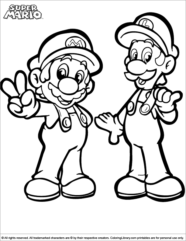 Super Mario Brothers printable coloring page