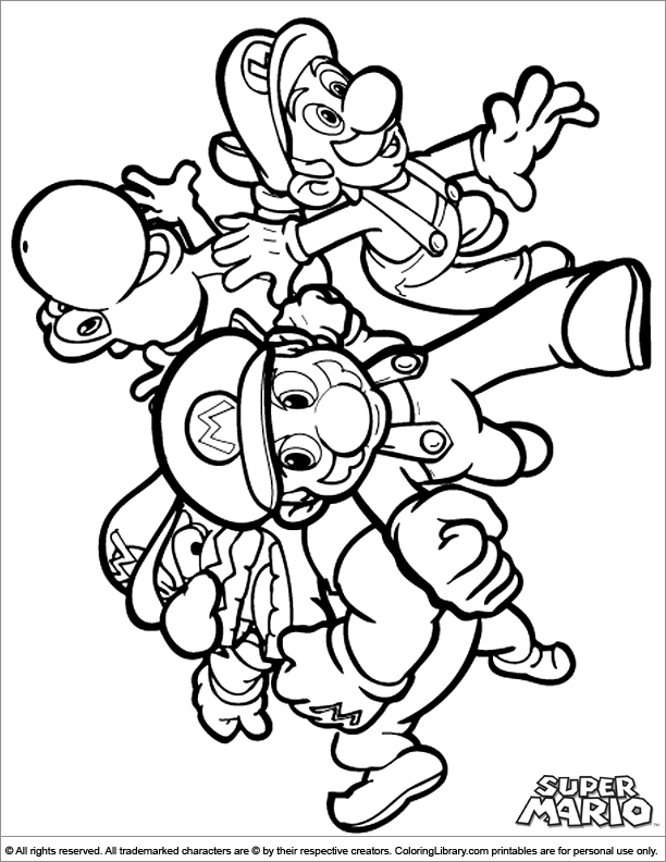 Super Mario Brothers coloring picture for kids - Coloring ...