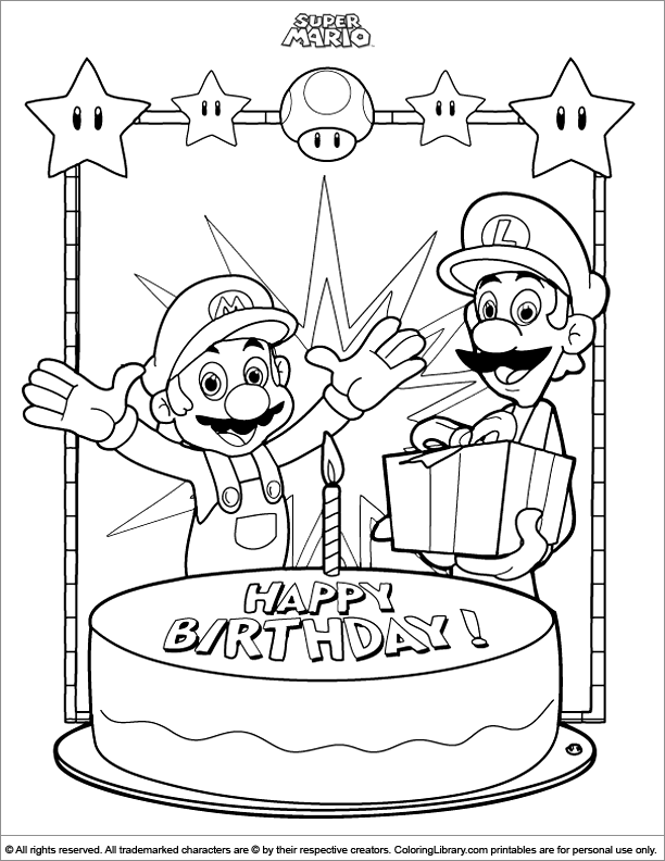 Super Mario Brothers colouring in