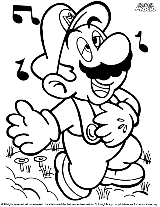 Super Mario Brothers coloring page to print