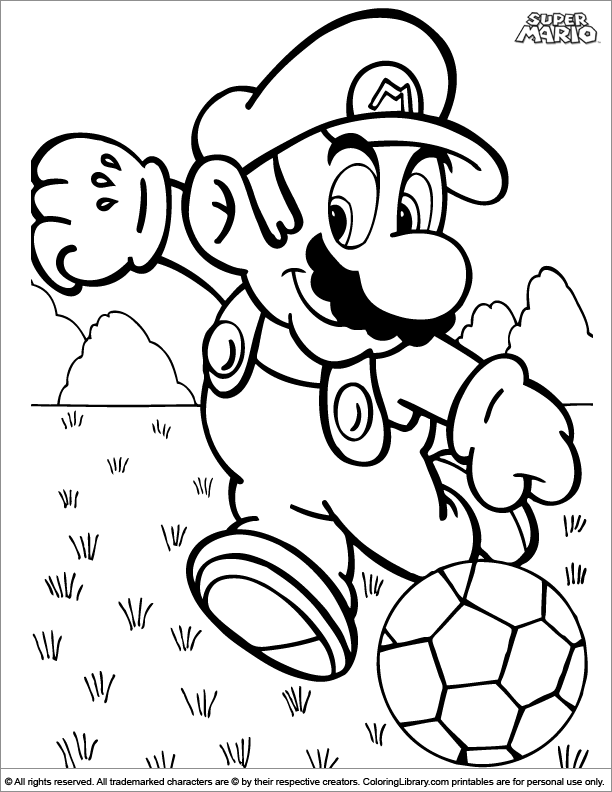 Super Mario Brothers free coloring sheet