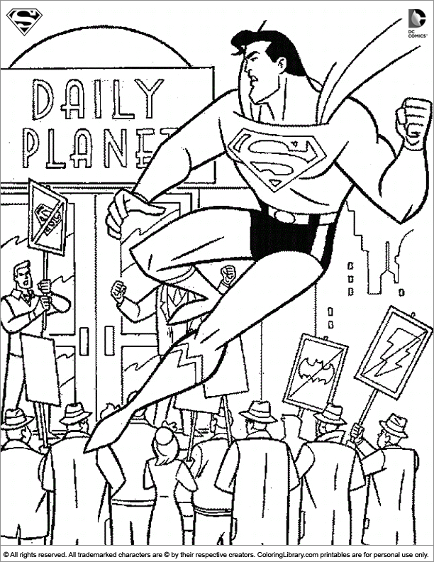 Superman coloring book page for kids