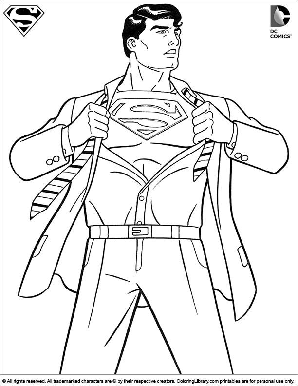 Superman colouring sheet for children coloring library for Super man coloring page