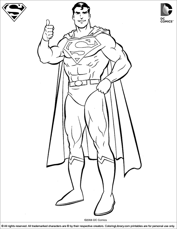Superman Coloring Picture Colouring Pages Of Black And White