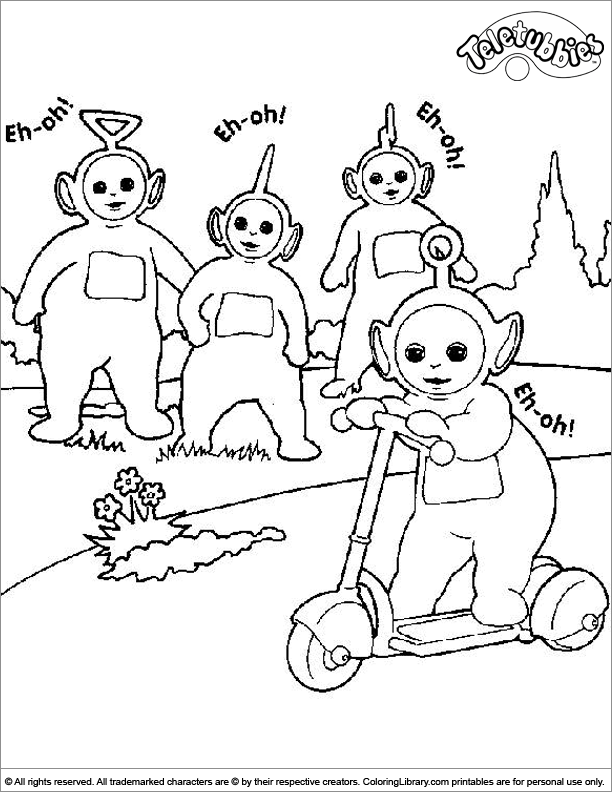 Teletubbies coloring book page for kids