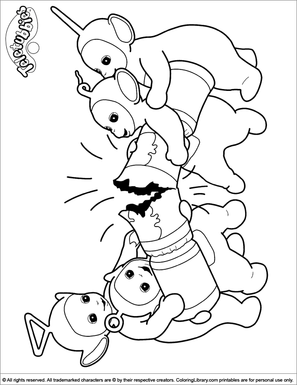 teletubbies coloring pages library - Teletubbies Dipsy Coloring Pages
