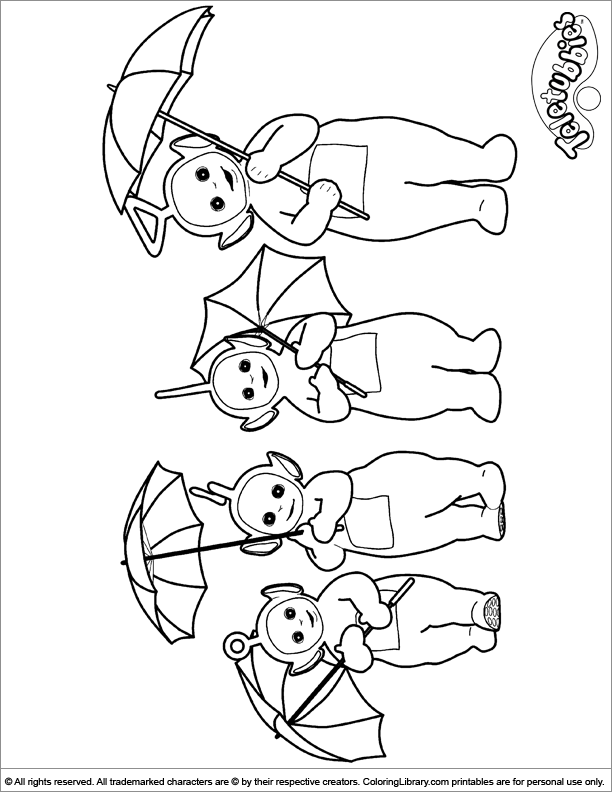 Teletubbies coloring sheet for kids