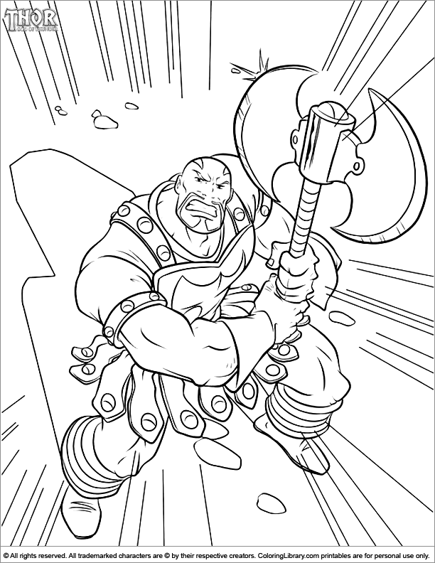Thor free coloring page
