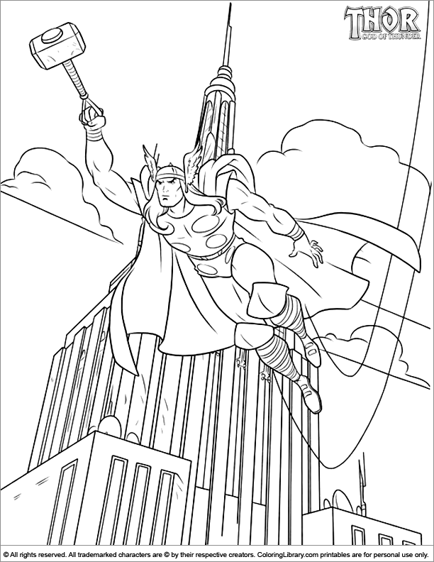 Thor Coloring Picture Coloring Library