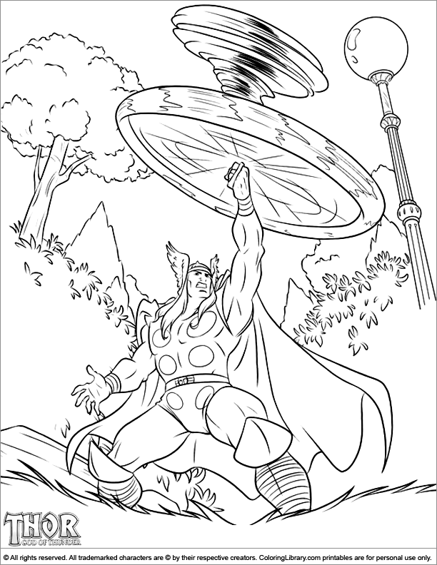 Thor printable coloring page for kids