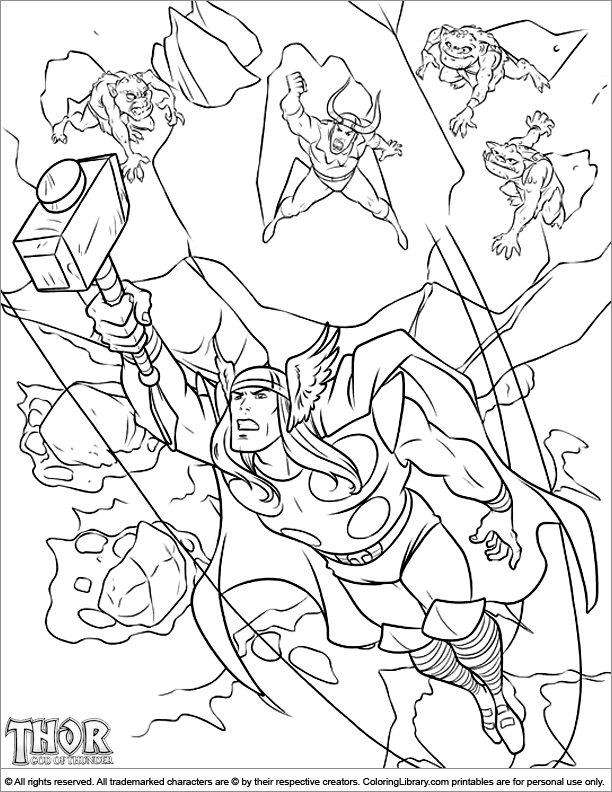 Thor coloring book page for kids