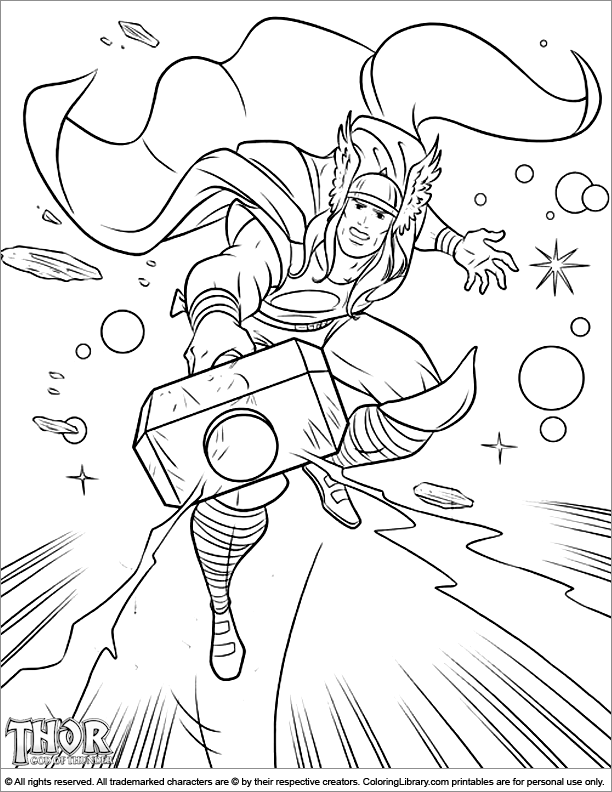 Thor coloring page that you can print - Coloring Library