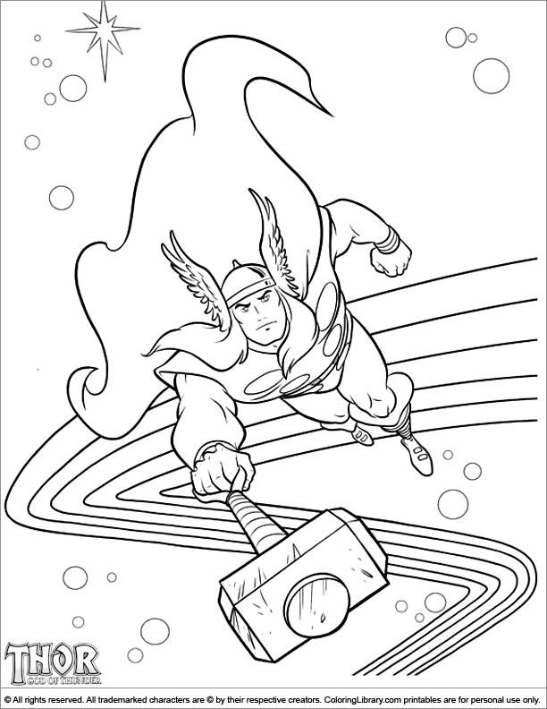 Thor free coloring sheet