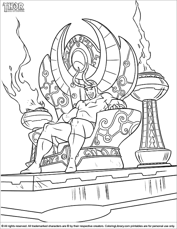 Thor fun coloring picture