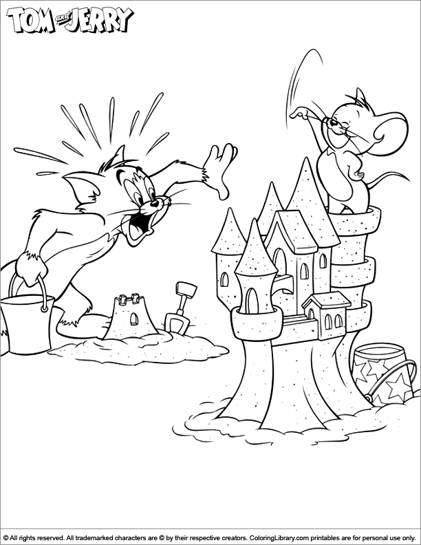 Tom and Jerry coloring page for kids