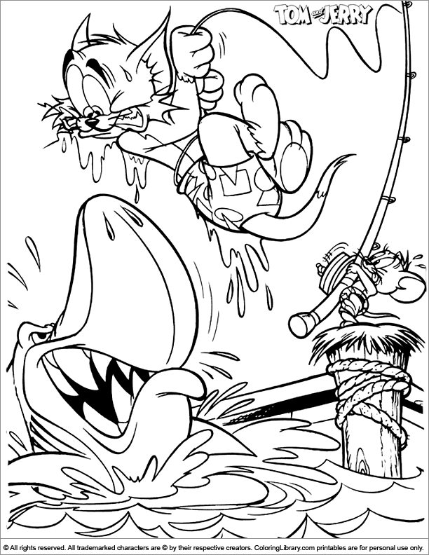 Tom and Jerry coloring book page for kids