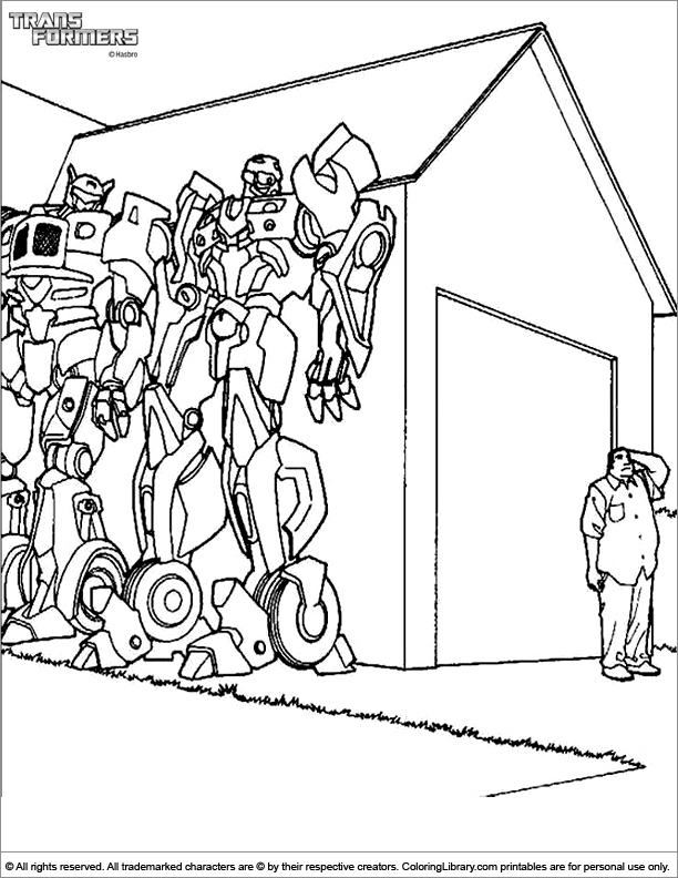 Transformers colouring sheet