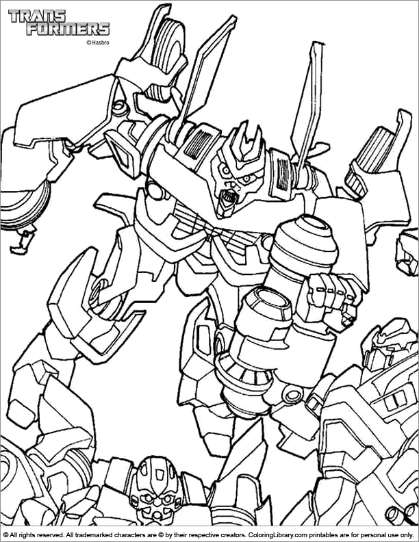 Transformers coloring sheet for kids