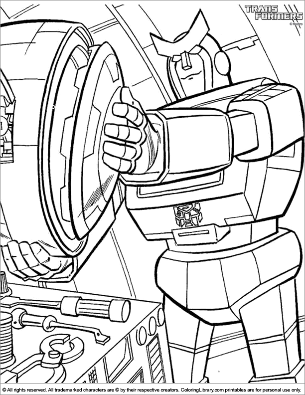 Transformers colouring page