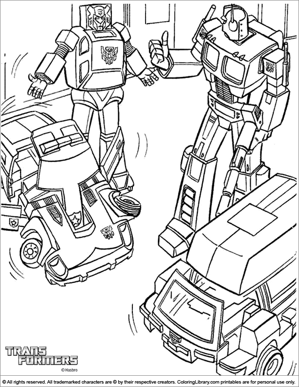 Transformers coloring page for children