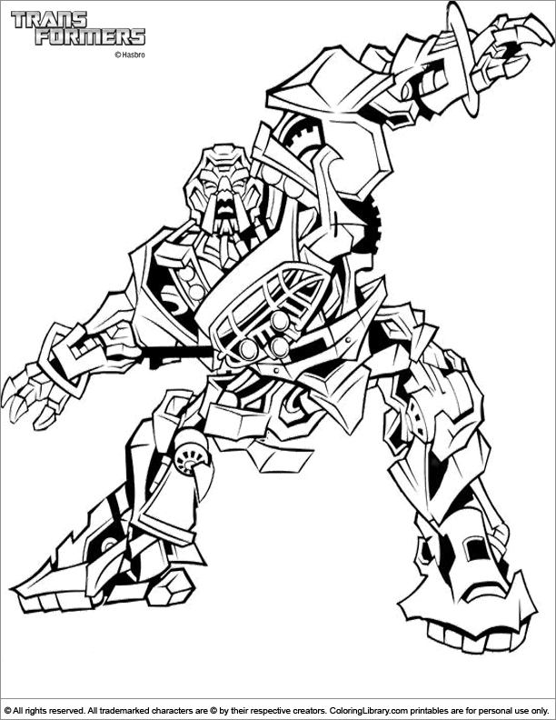 Transformers printable coloring picture
