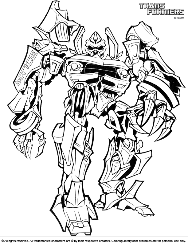 Transformers printable coloring page