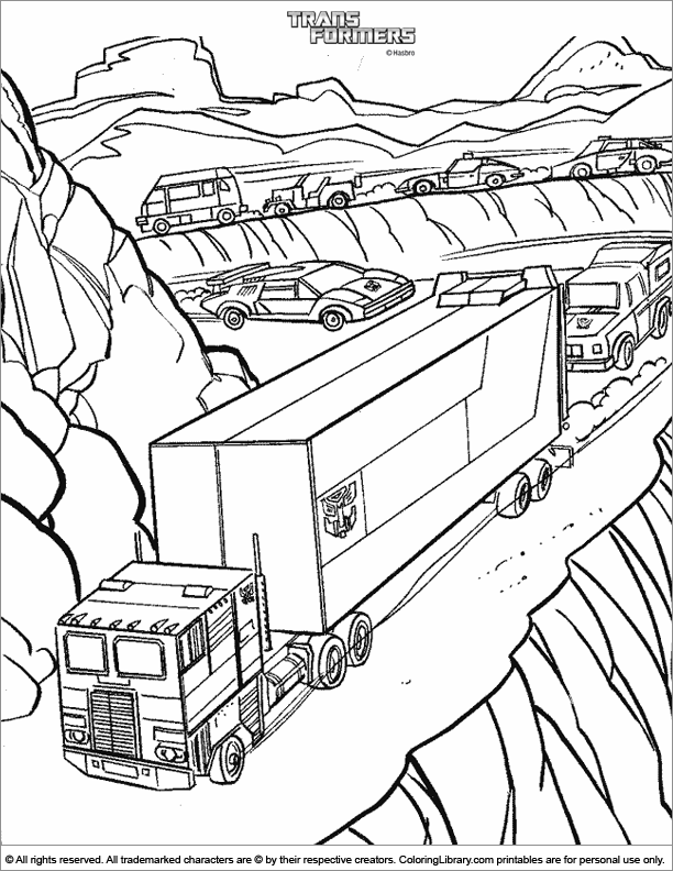 Transformers coloring book page for kids