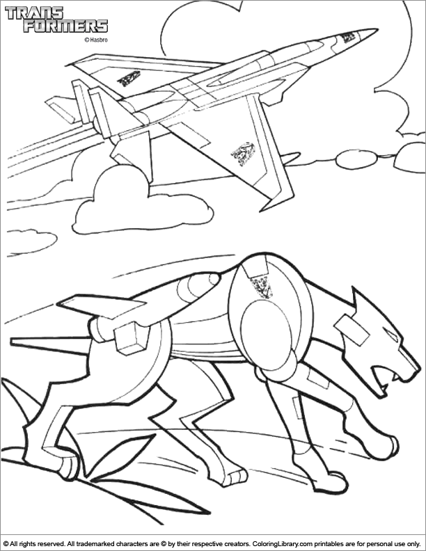 Transformers free coloring sheet