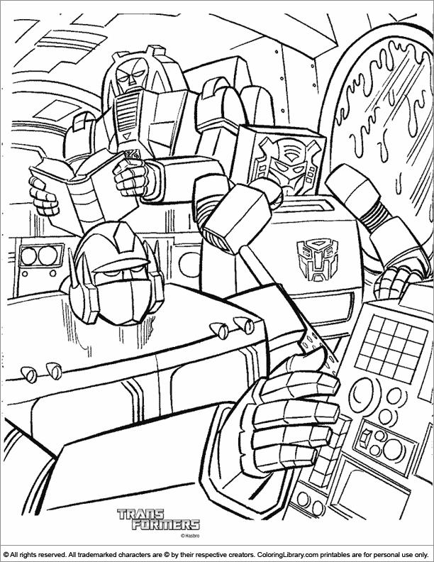 Transformers coloring book sheet