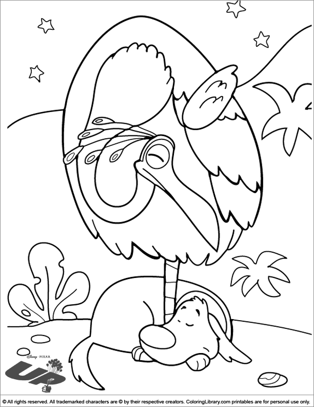 Up colouring sheet for kids