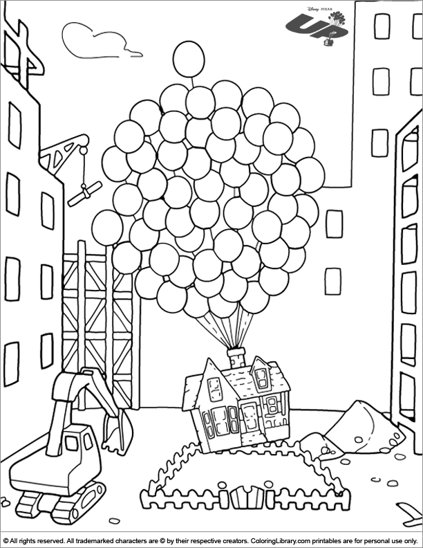 Up coloring sheet for kids