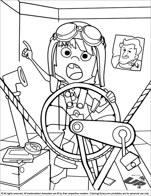 Up free coloring page for children