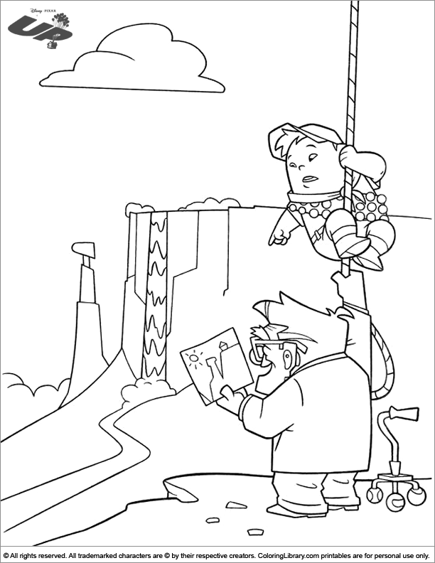 Up coloring book page for kids