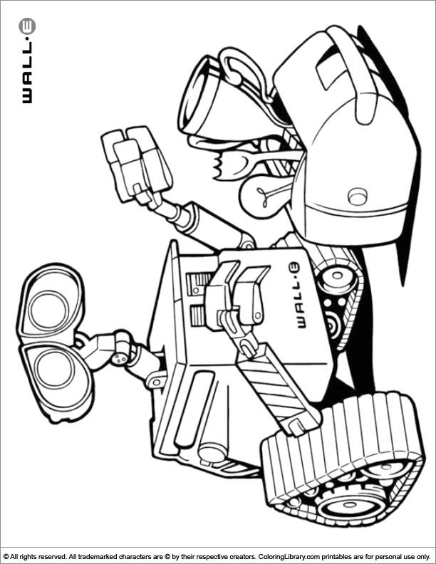 WALL E fun color page