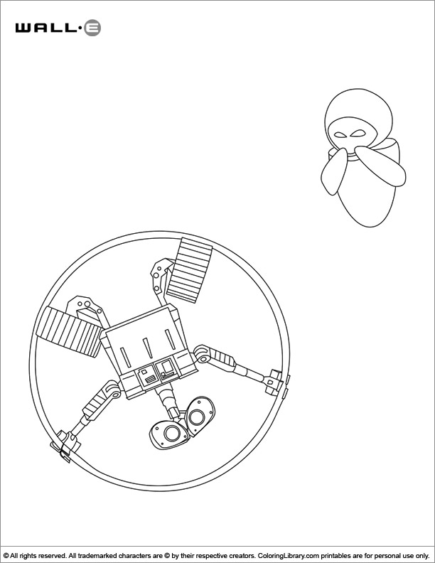 WALL E coloring book sheet