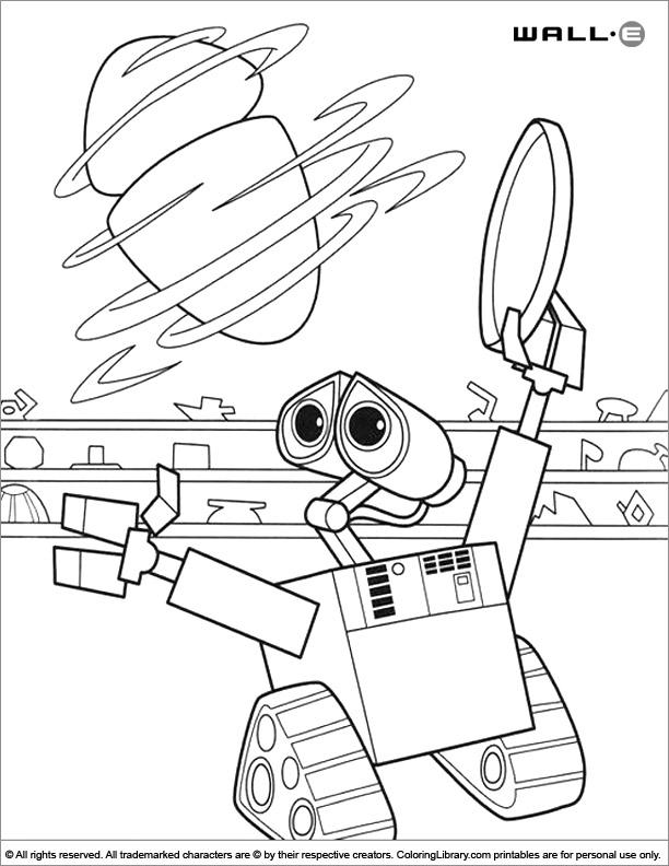 WALL E color book page