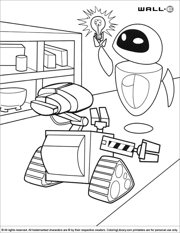 WALL E printable coloring page for kids