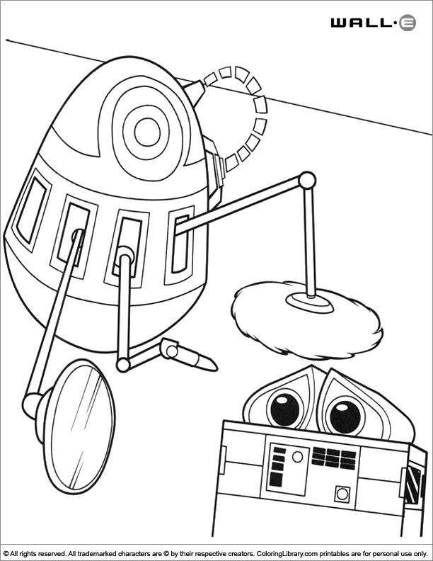 WALL E fun coloring sheet