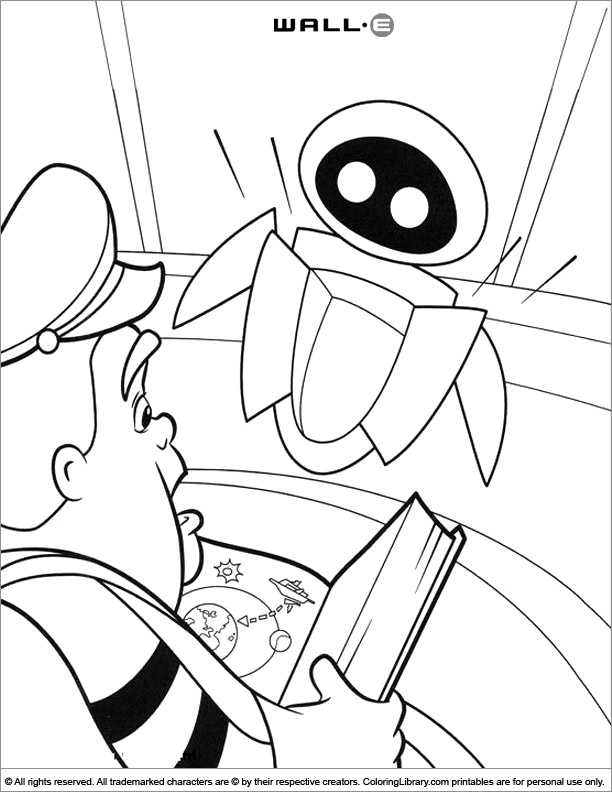 WALL E picture to print and color
