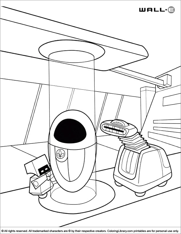 WALL E coloring book page for kids