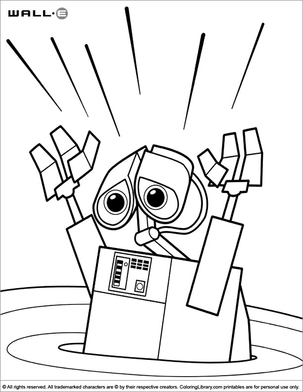 WALL E free printable coloring page