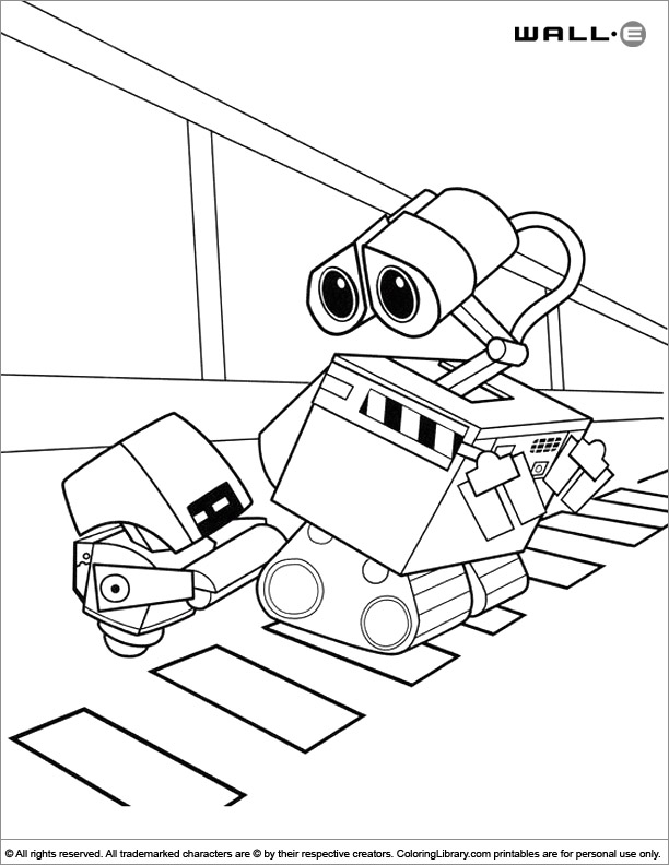 WALL E colouring in
