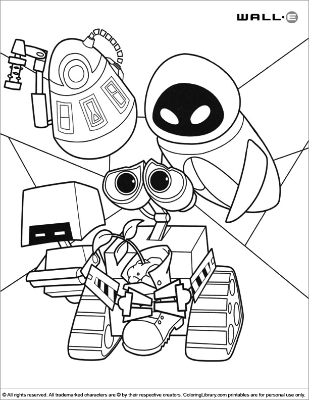 WALL E free coloring sheet