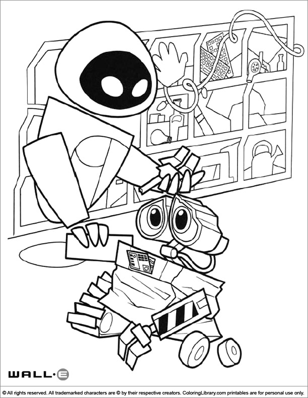 WALL E coloring book page