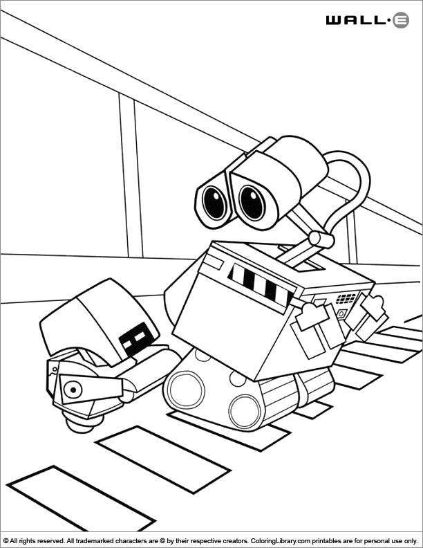 Printable WALL E coloring page