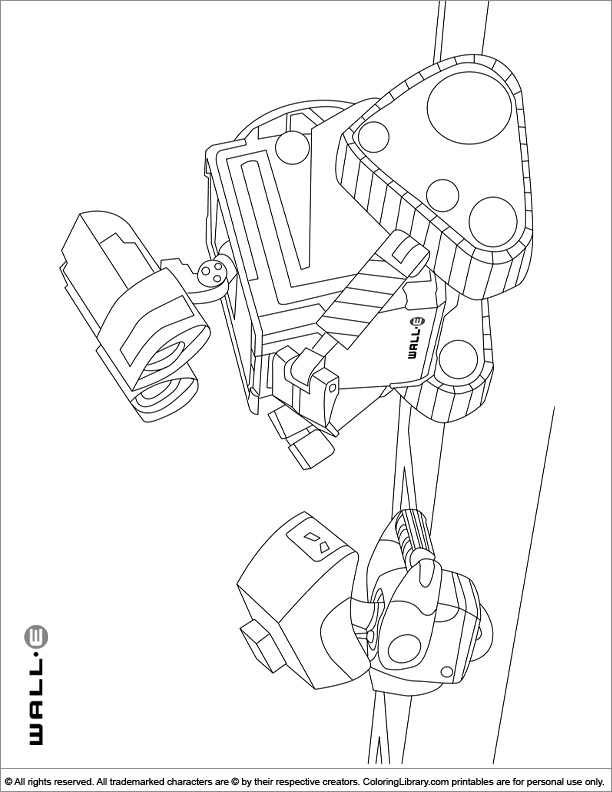 WALL E color book page