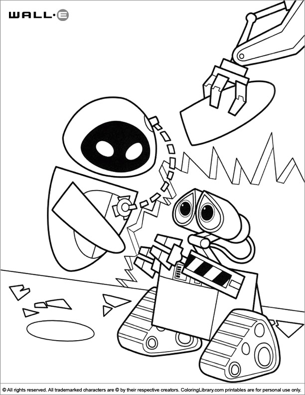 WALL E colouring sheet for kids
