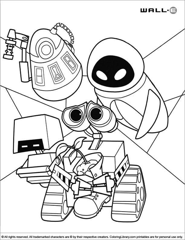 WALL E free coloring sheet